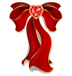Red bow with ruby with heart vector