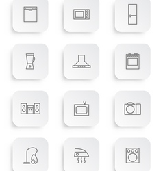 Household appliances icons 3 vector