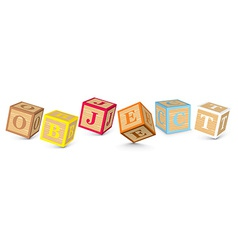 Word object written with alphabet blocks vector