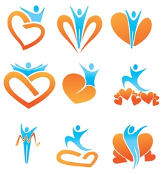 Health hearts and people vector