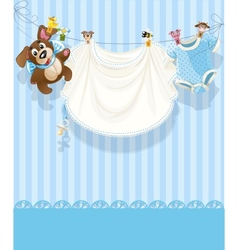 Baby boy blue openwork announcement card vector