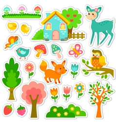 Forest stickers design vector