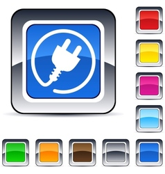 Power plug square button vector