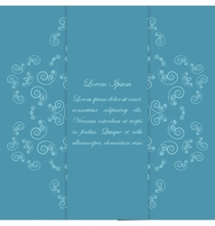 Blue card design with ornate floral pattern vector