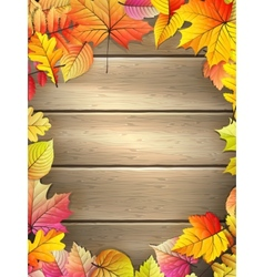 Wooden planks with autumn leaves eps 10 vector