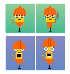 Plasterer characters with orange helmet vector