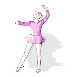 Ballerina little girl in a pink dress and pointe vector