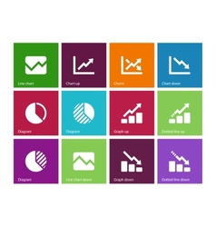 Line chart and diagram icons on color background vector