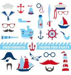 Nautical party set - photobooth props vector