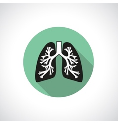 Lungs round icon vector