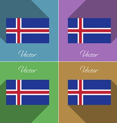 Flags iceland set of colors flat design and long vector