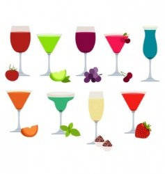 Set of different party drinks vector