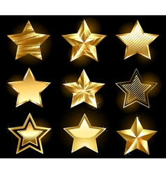 Set of gold stars vector