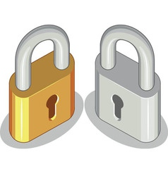Lock or padlock brass steel vector
