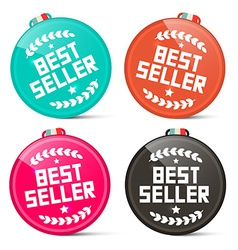 Best seller circle medals retro set isolated on vector