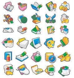 Set of cartoon icon 1 vector