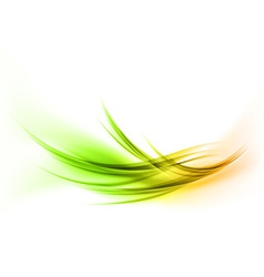 Abstract smoke on white curves gree orange vector