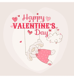 Happy valentines day card - bunny theme vector
