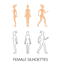 Female silhouettes front back and side vector