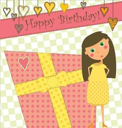 Birthday greeting with girl and gift vector