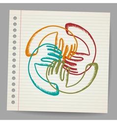 Doodle teamwork hands on sheet of paper vector