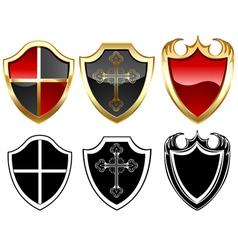 Three gold shield vector