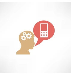 Gear head and cellphone icon vector