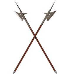 Two crossed battle halberds vector