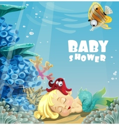 Baby shower with sleeping baby mermaid vector