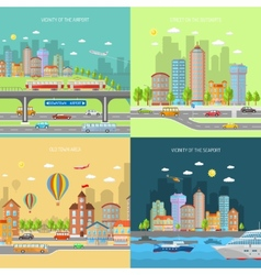 City transpot design concept set vector