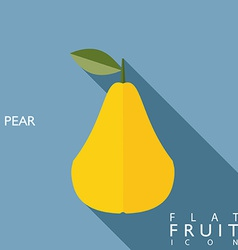 Pear flat icon with long shadow vector