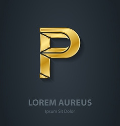 Letter p elegant gold font template for company vector