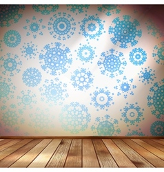 Room wall with snowflakes wallpaper eps 10 vector