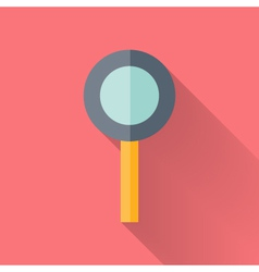 Flat loupe icon over pink vector
