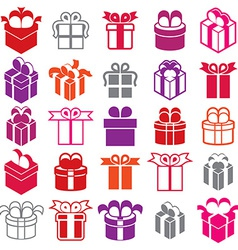 Gift boxes icons isolated on white background set vector