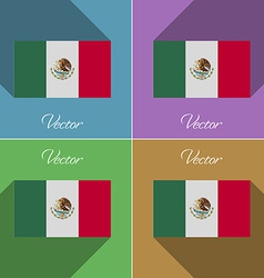 Flags mexico set of colors flat design and long vector