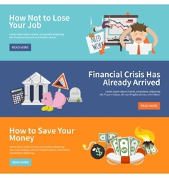 Economic crisis banners vector
