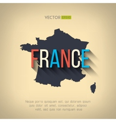 France map in flat design french border vector