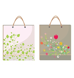 Bags template with leaves and flowers vector