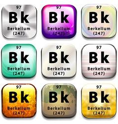 A periodic table showing berkelium vector