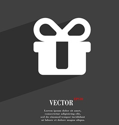 Gift icon symbol flat modern web design with long vector
