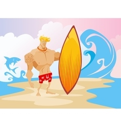 Surfer on the beach caracter vector