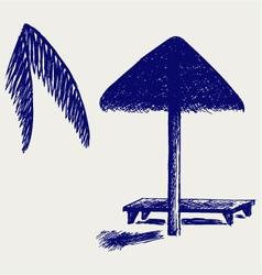 Palm leaf beach umbrella vector