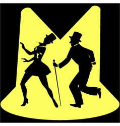 Tap dancing performers on stage under spotlights vector