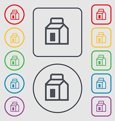 Milk juice beverages carton package icon sign vector