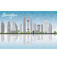 Shanghai skyline with blue sky grey skyscrapers vector