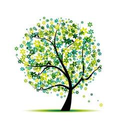 Spring floral tree vector