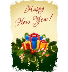 Grungy happy new year greeting card vector