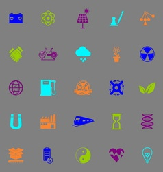 Renewable energy icons fluorescent color on gray vector