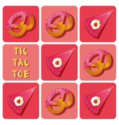 Tic-tac-toe of cake and pretzel vector